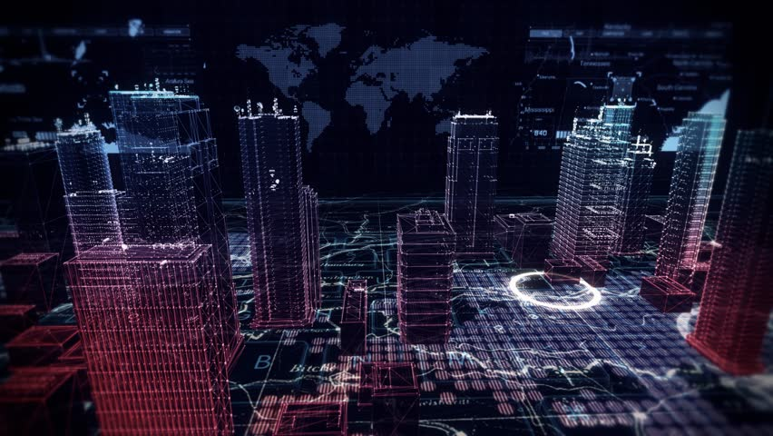 Virtual City Aerial Drone Flight on Cybernetic Space with Ultra HD Infographics | Shutterstock HD Video #11841857