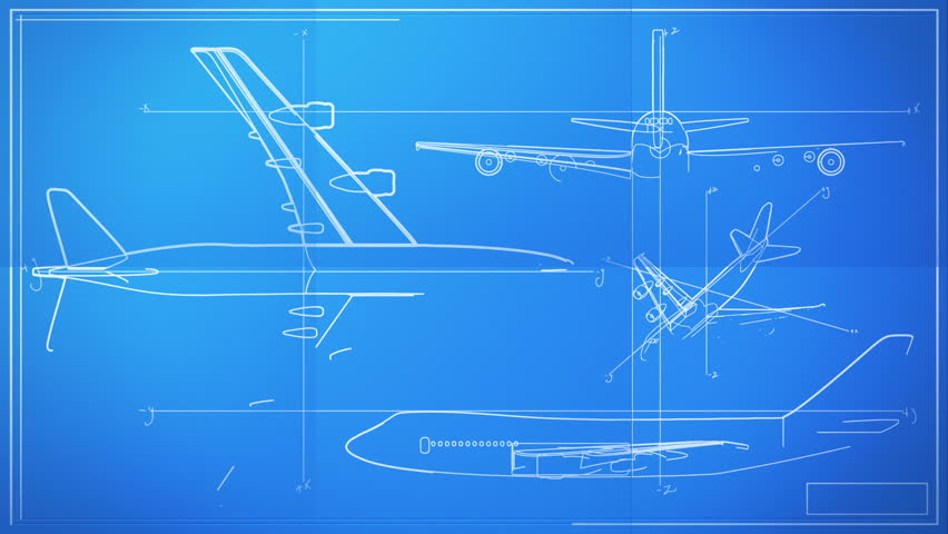 Aircraft Technical Drawing Blueprint Time Lapse - HD stock footage clip