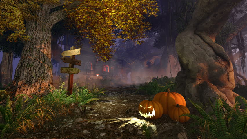 Mystic forest with wooden signpost and Jack-o-lantern Halloween pumpkins on foreground and scary haunted house in the distance at dusk. Realistic 3D animation. | Shutterstock HD Video #11901446