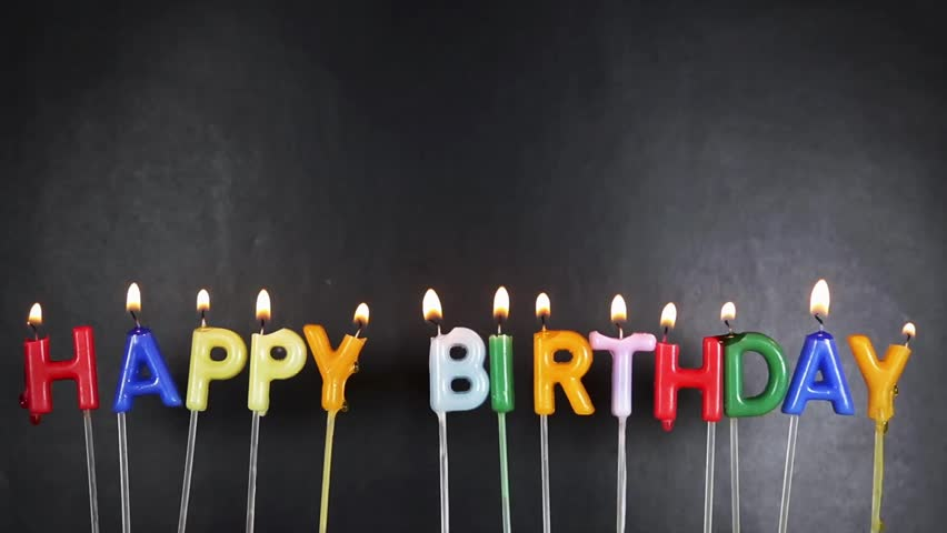 Happy Birthday Candles On Black Background Stock Footage
