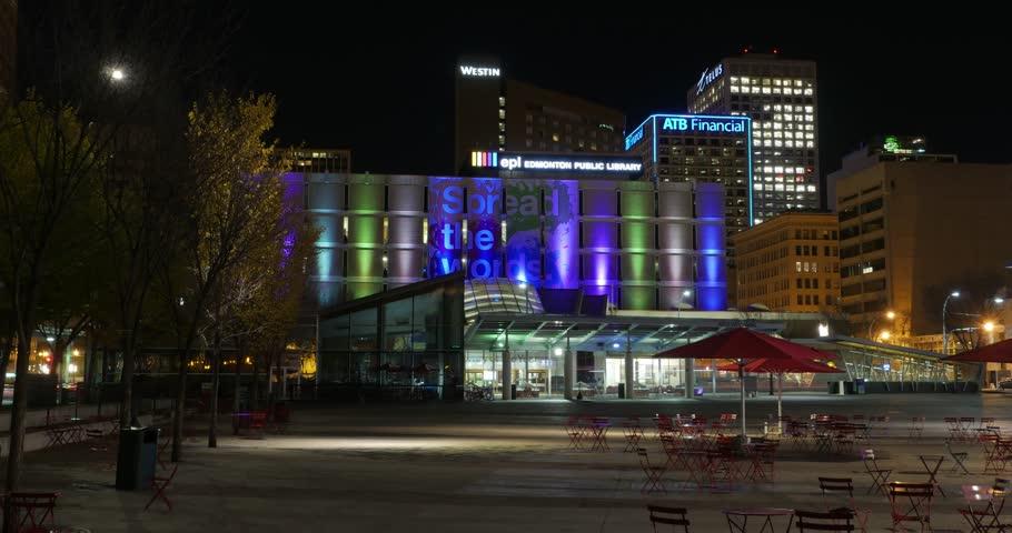 Edmonton, Canada - September 2, 2014. Edmonton Public Library Hyperlapse from Churchill Square at night.