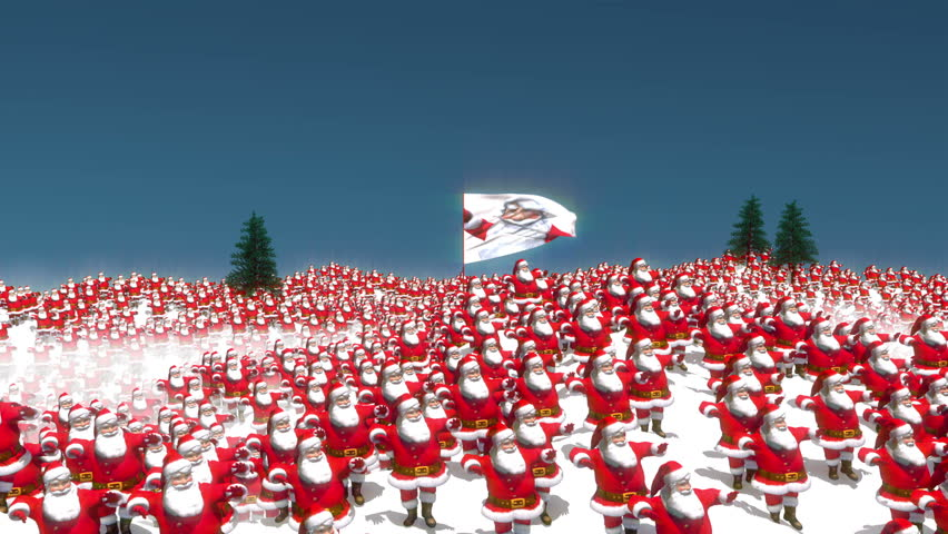 Hundreds of Santa characters dancing on a snowy mountain scene with the camera resting on a large flag with a picture of Santa.