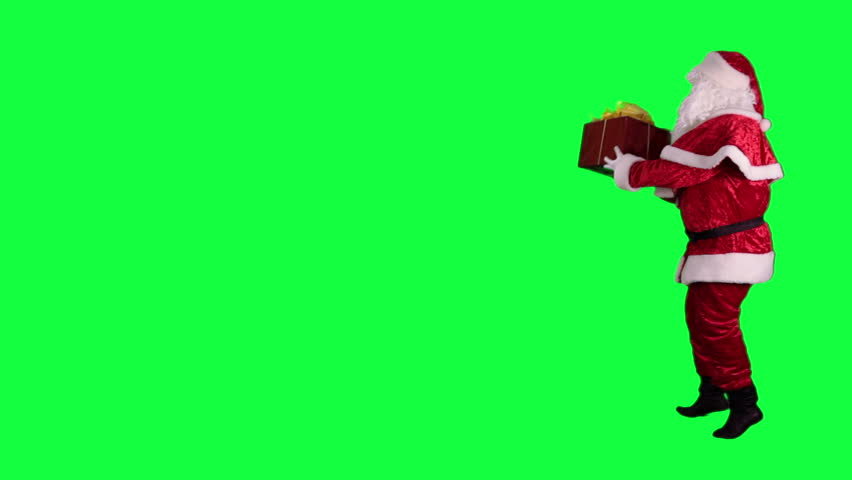Santa Claus with a gift box chroma key (green screen). Santa dancing with a present isolated on green