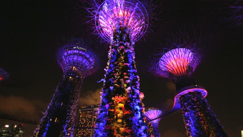 Singapore Clarke Quay Asia Gardens Bay Supertree Grove illuminated lights night downtown commercial urban bridge bay travel tourist - HD stock footage clip