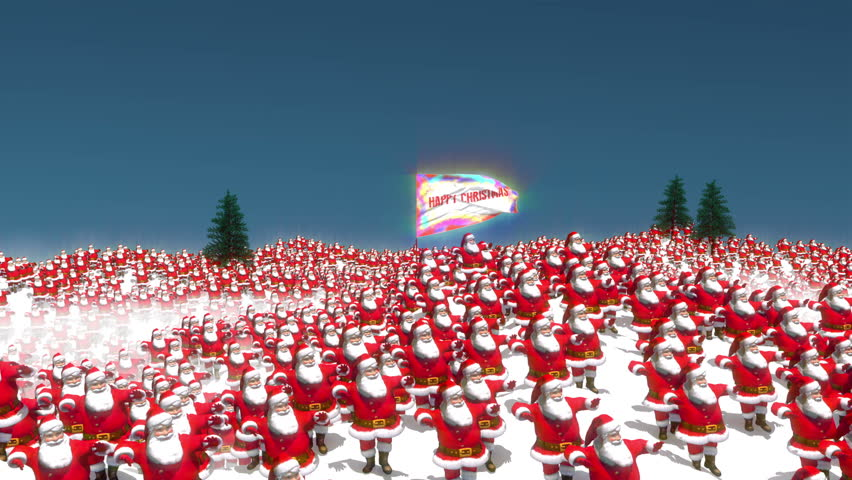 Hundreds of Santa characters dancing on a snowy mountain scene with the camera resting on a large flag with Happy Christmas text.