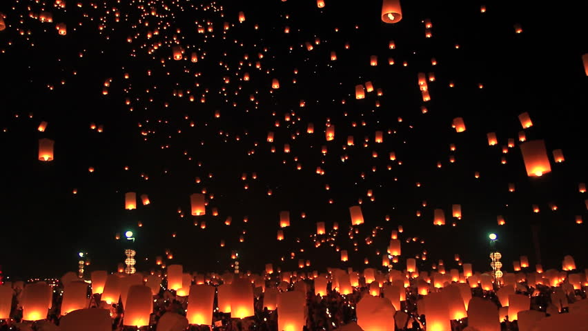 Highlight Floating lanterns in Yee Peng Festival, Loy Krathong celebration in Chiangmai, Thailand  | Shutterstock HD Video #11945582