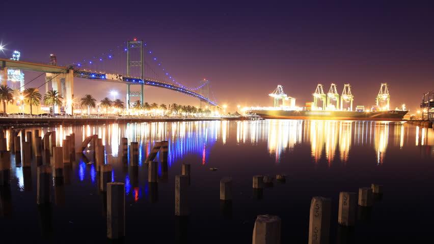 Port Of Long Beach Amp Vincent Thomas Bridge Stock Footage