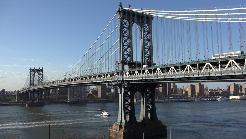 A unique view of Manhattan Bridge on clear sunny afternoon. New York City, NY - April 2015 | Shutterstock HD Video #11953583