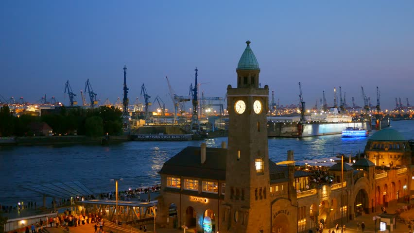 View of the Hamburg harbour after sunset, Germany