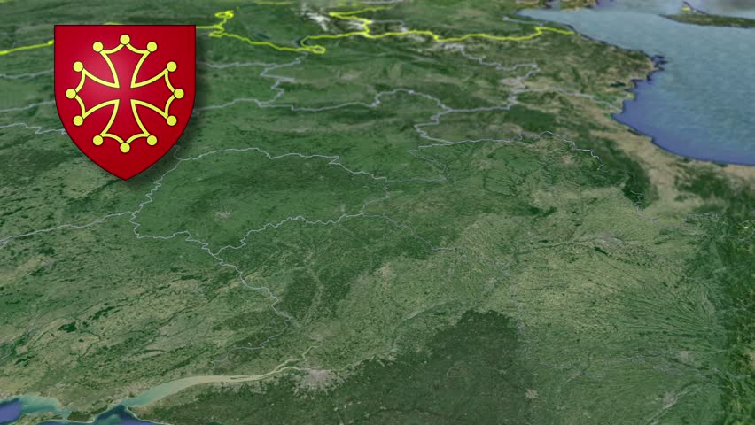 Midi-Pyrenees whit Coat of arms animation map Regions of France