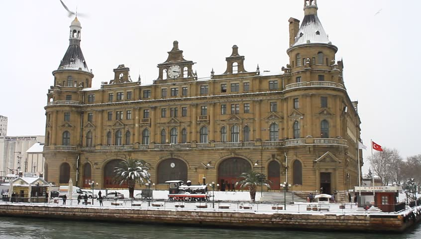 Snow covered Haydarpasa Train Station on a cold winter day. Istanbul, Turkey