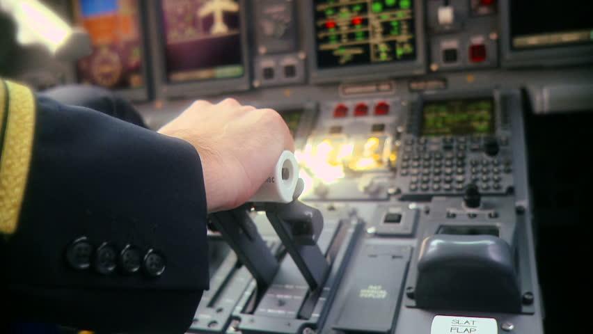 Hand Of Pilot Push Thrust Lever Handle For Plane Engine