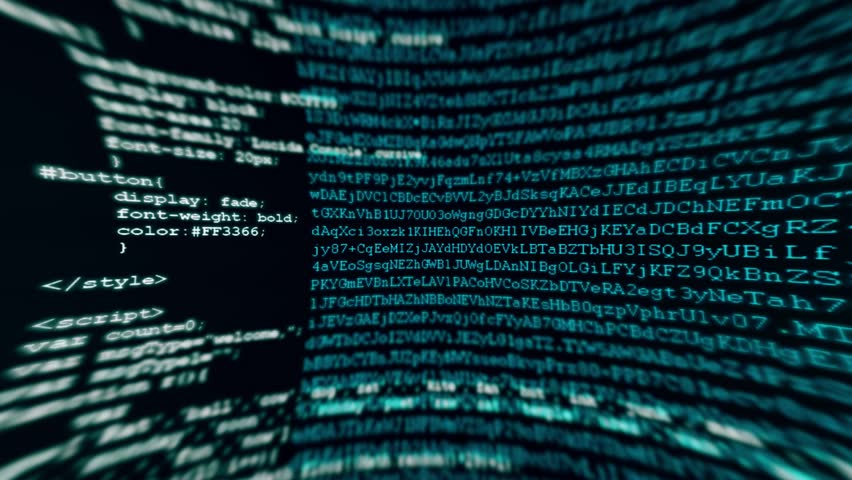 Camera move through pieces of software source code - HD stock footage clip