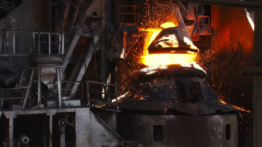 Hot steel pouring in steel plant - HD stock footage clip