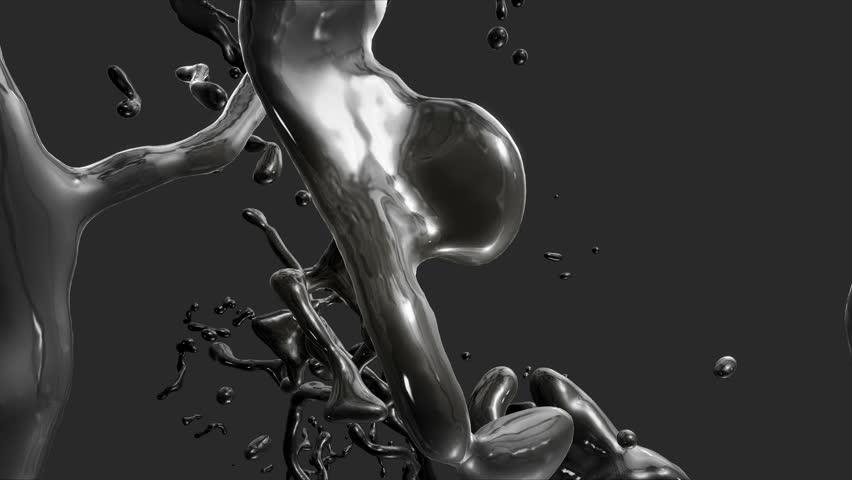 Flying through Splash of black Fuel Oil. | Shutterstock HD Video #12064607
