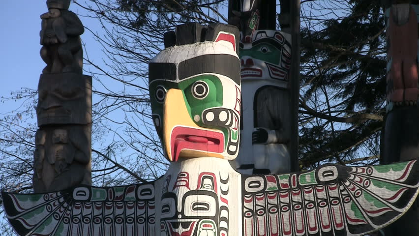 Vancouver, Canada - October, 2012: Totem Poles in Stanley Park. - HD stock footage clip