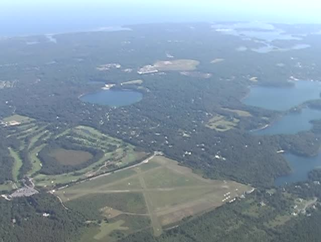 Aerial view of Cape Cod over land - SD stock video clip
