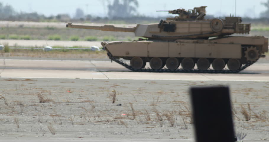 MIRAMAR, CA - OCT 3: An Abrams Tank takes part in the Marine Air-Ground Task Force (MAGTF) demonstration at the airshow in Miramar, CA on Oct 3, 2015.