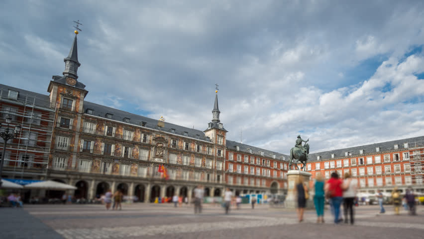 Wide angle time-lapse of Plaza Mayor in Madrid , Spain. 4k Time Lapse with blurred people