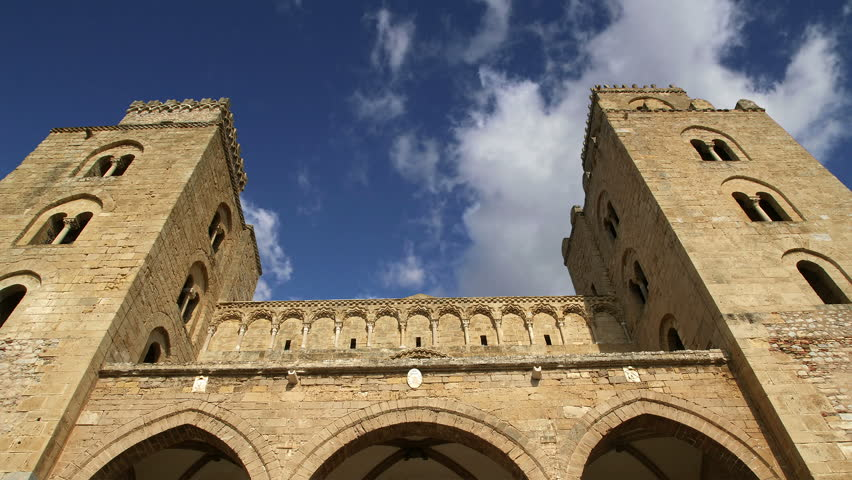 The Cathedral-Basilica of Cefalu, is a Roman Catholic church in Cefalu, Sicily, southern Italy - HD stock footage clip