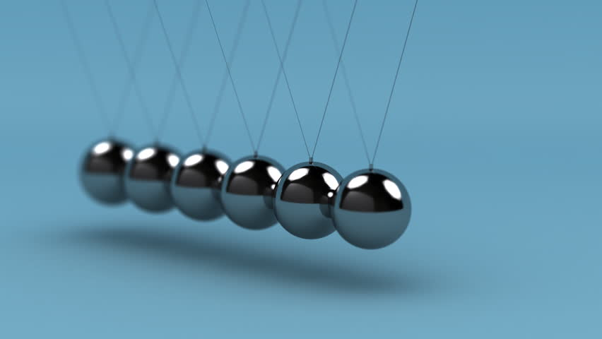 Newton's cradle with very shallow depth of field - LOOP - HD stock footage clip