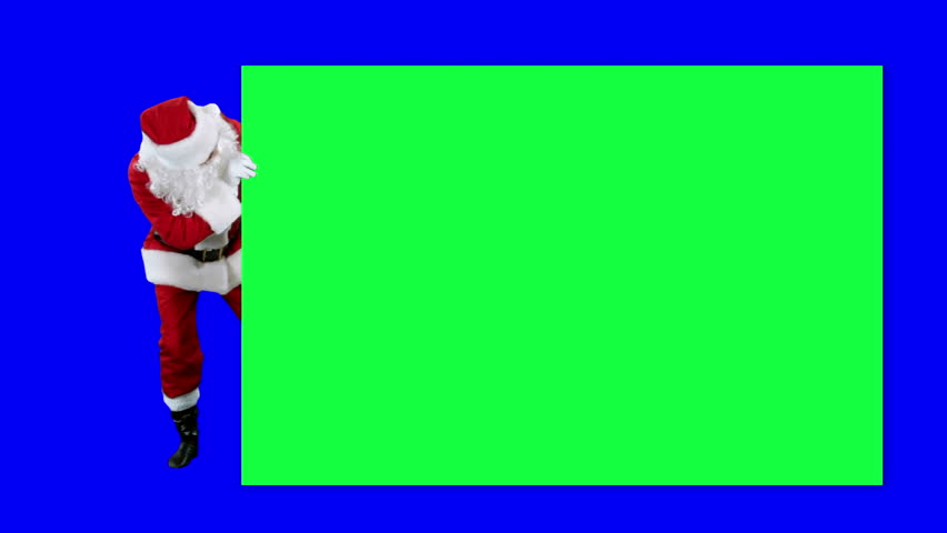 Santa Claus demonstrates banner chroma key (blue screen). Santa peeking around the poster  isolated