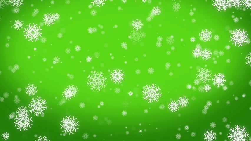 Snowflakes Falling Against A Green Background Stock ...