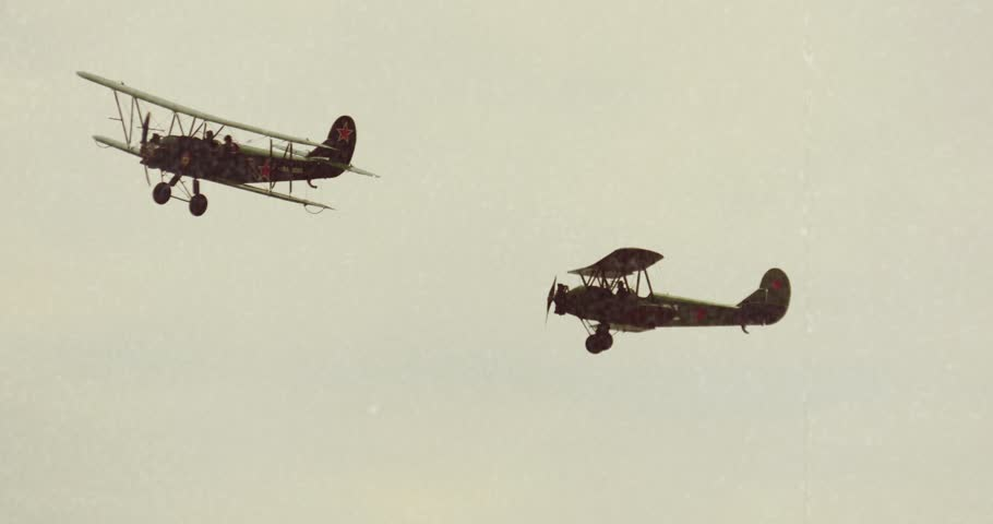 4K Stock Footage Old Movie Retro Aircraft Biplanes Air Fight