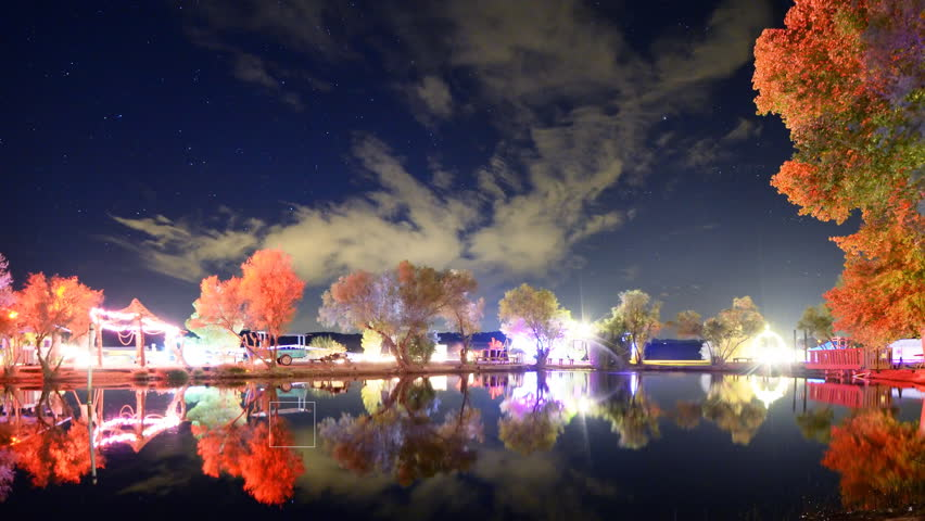 Astrophotography time lapse footage of starry sky over illuminated trees surrounding reflective pond at Joshua Tree Music Festival 2015 -Long Shot-