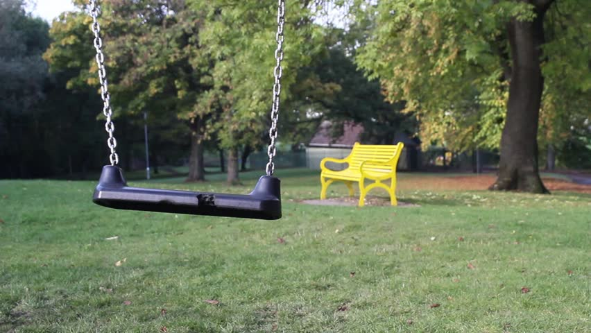 Green park with the children's swing in the autumn time, UK, footage   Shutterstock HD Video #12363803