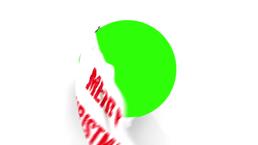 A pair of Chrome Scissors cut around a text of Merry Christmas in Red.  The camera zooms in to a green screen to a transition.