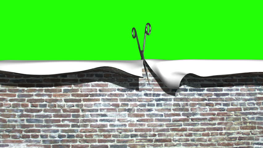 A pair of chrome scissors appear at the top of the screen and proceed to cut through a brick wall texture. The image then falls as if made of cloth/paper, revealing a solid green background.