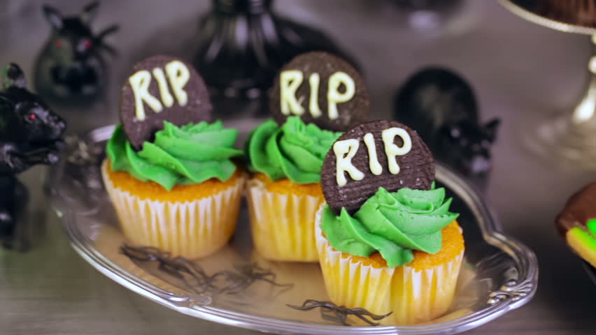Food table arrangement prepared for Halloween party. | Shutterstock HD Video #12411485