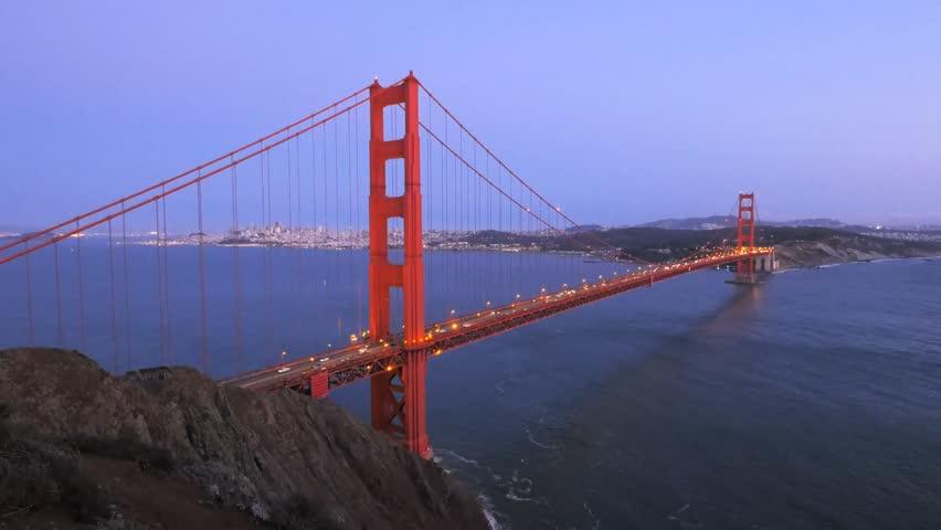 twilight view of golden gate bridge in san francisco, california - 4K stock footage clip