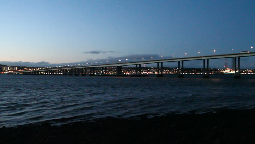 Timelapse of Tay Road Bridge and Dundee Waterfront at dusk Scotland - HD stock footage clip