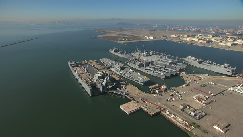 Aerial USS Hornet Museum Alameda Point San Francisco USA | Shutterstock HD Video #12436946