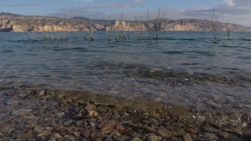 small waves in the swamp of Negratin with dolly camera movement,     - HD stock video clip
