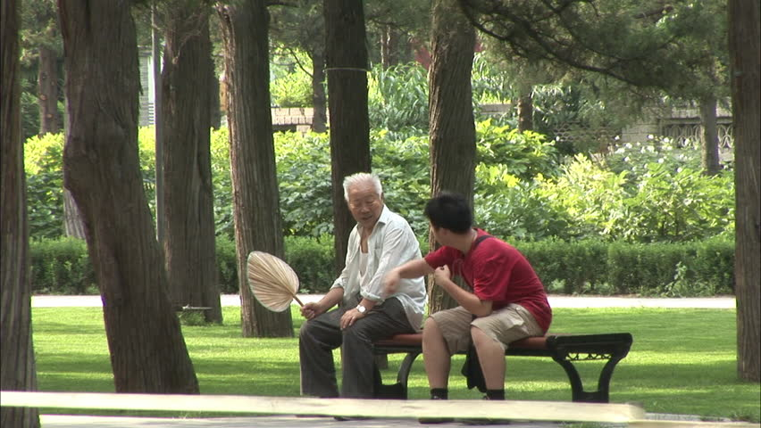 Beijing China August 2009 Two Elderly Chinese Men Sit