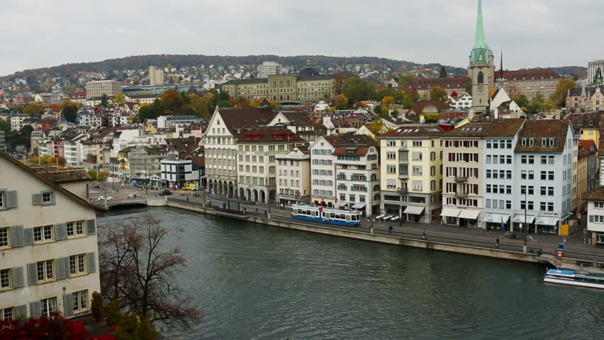 Downtown of Zurich, Switzerland. Video footage. Horizontal panorama. Autumn cloudy weather
