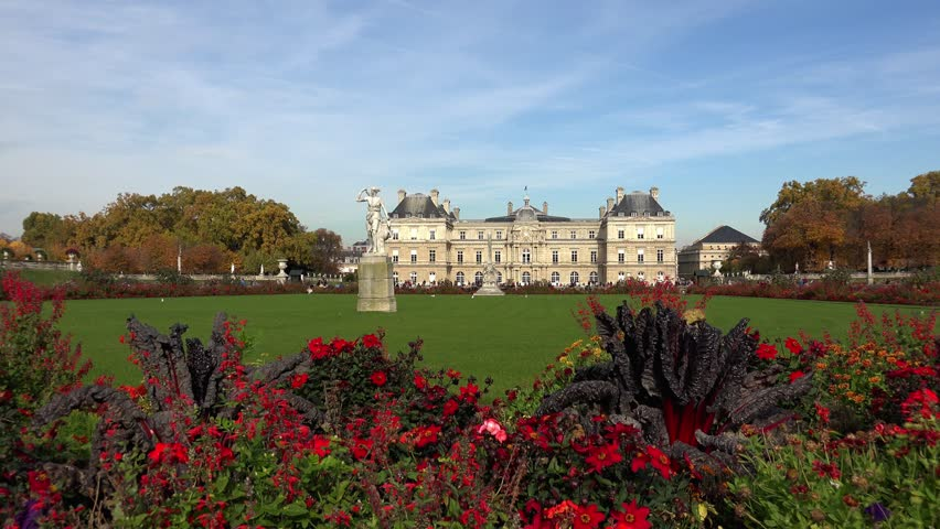 Luxembourg Palace in Paris. France. Shot in 4K (ultra-high definition (UHD)). - 4K stock video clip