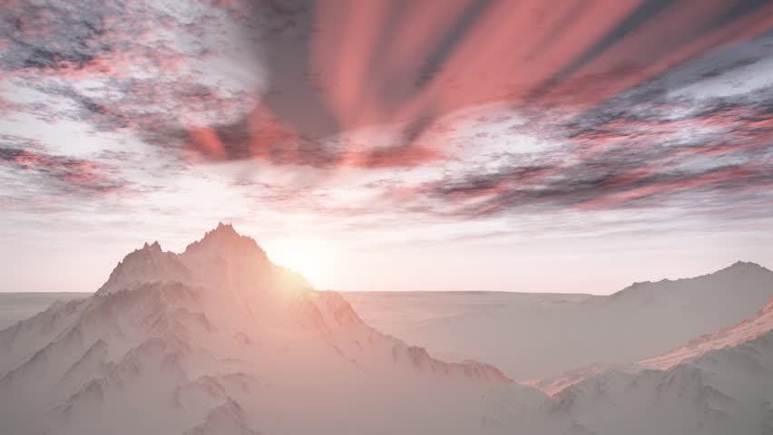 (1258P) Majestic Remote Wilderness Snow Mountains Sunrise Landscape