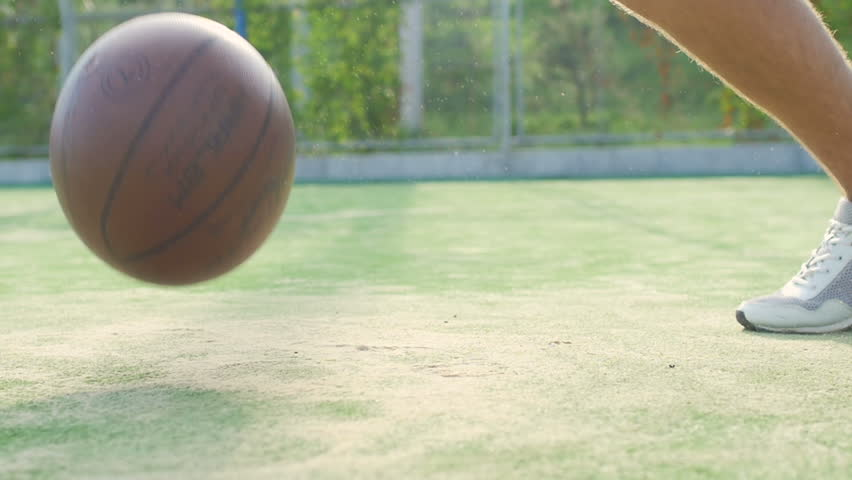 athlete training with ball. In slow motion - HD stock footage clip