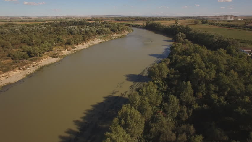 Aerial view of ebro river