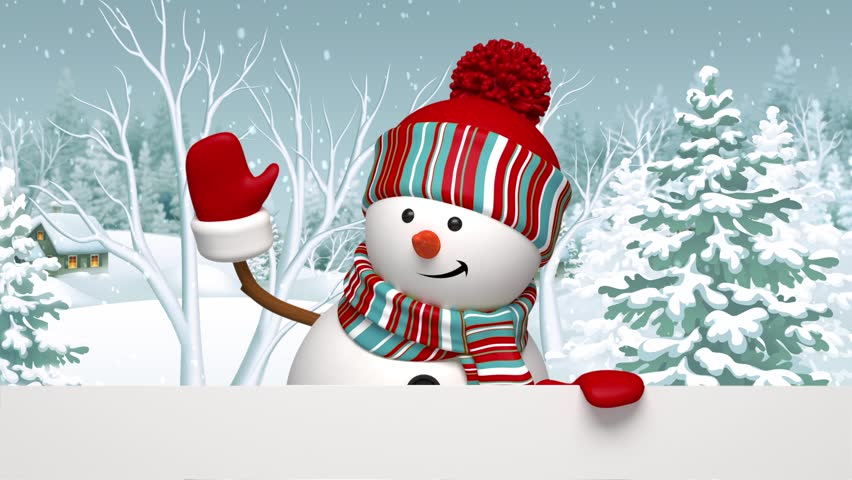 Snowman Looking Out The Wall, Christmas Greeting Card