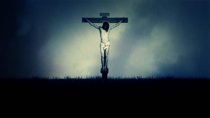 Jesus Crucifixion Under a Stormy Dark Sky on Mount Calvary in Jerusalem - HD stock video clip