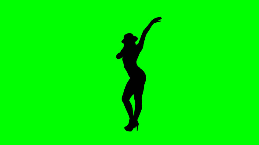 Female jazz dancer silhouette on chroma key green background with alpha channel - HD stock footage clip