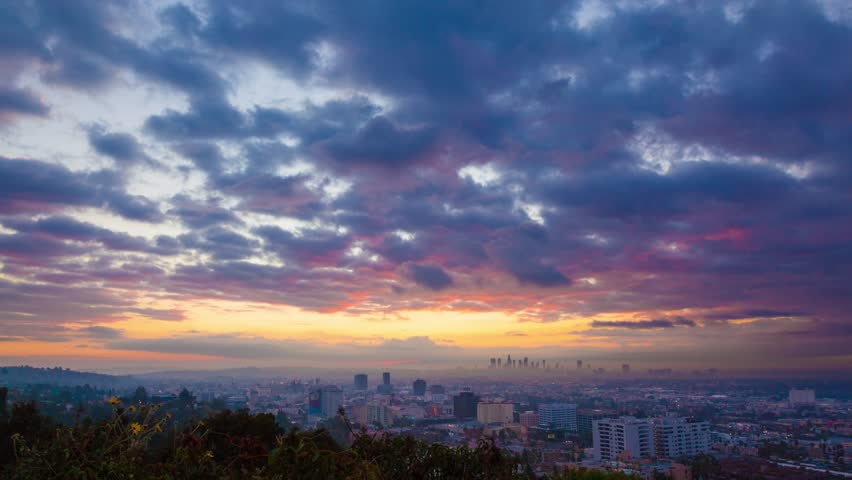 Sunrise over Los Angeles cityscape. Zoom in on downtown. 4K UHD Timelapse. | Shutterstock HD Video #12692789