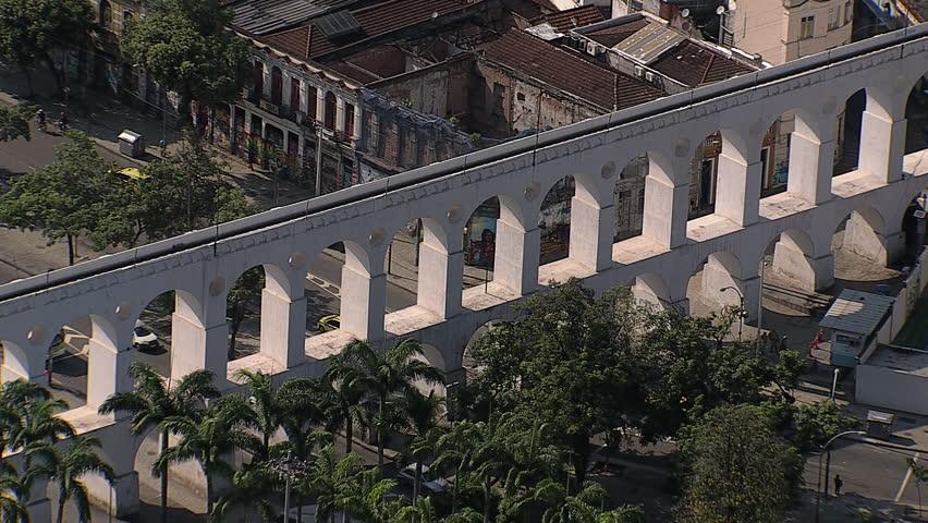 Aerial zoom out view of white Aqueduct landmark,Rio de Janeiro,Brazil