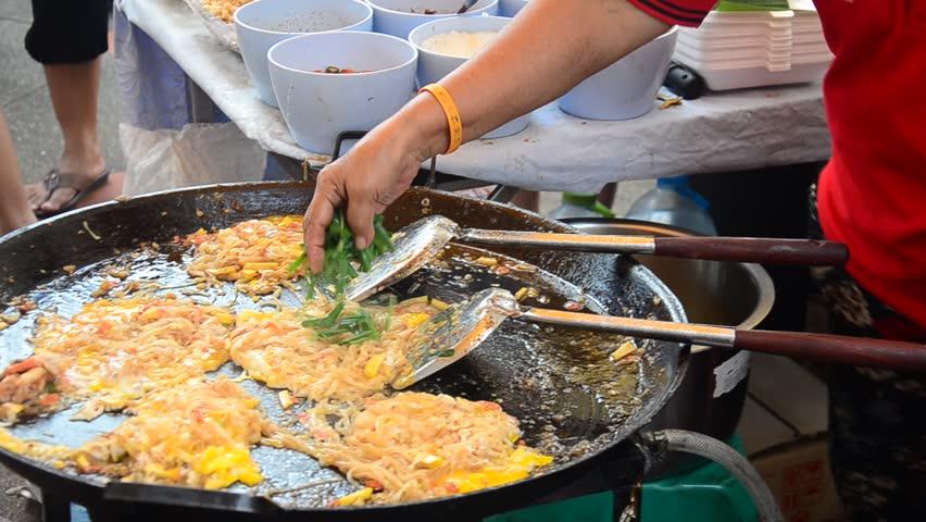 ... Egg Wrap Thai name called Pad Thai Goong Sod - HD stock footage clip