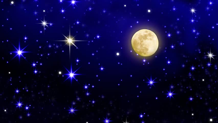 Night Sky With Stars And Full Moon Background. Full Moon ...